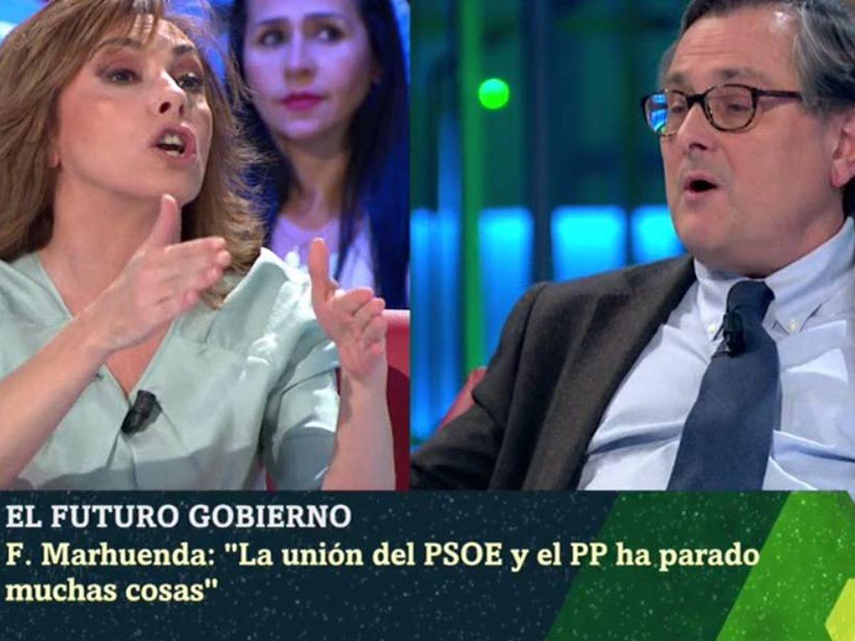 Foto: Angélica Rubio y Francisco Marhuenda, en 'La Sexta noche'. (Atresmedia).