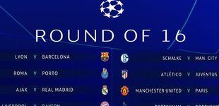 Post de Ajax-Madrid, Lyon-Barça y Atleti-Juve, en los octavos de la Champions League