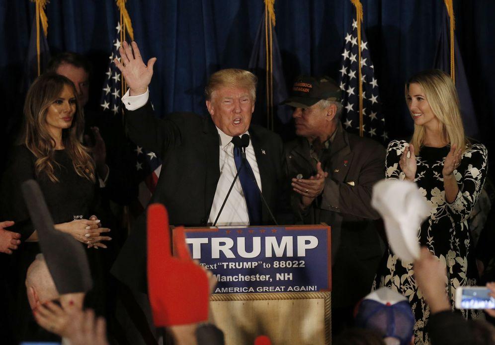 Foto: El candidato republicano Donald Trump se dirige a sus votantes en New Hampshire tras conocer el resultado de las primarias (Reuters).