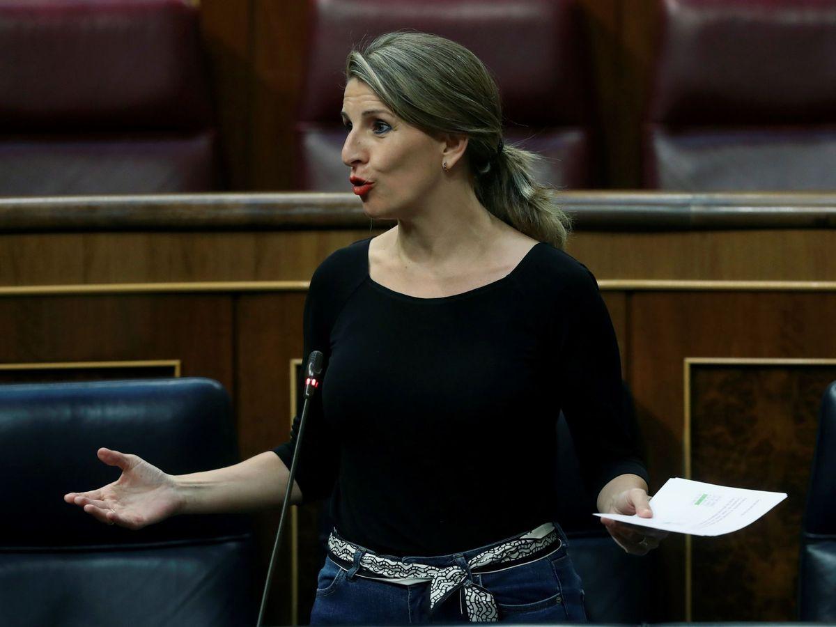 Foto: La ministra de Trabajo, Yolanda Díaz, en el Congreso. (EFE)