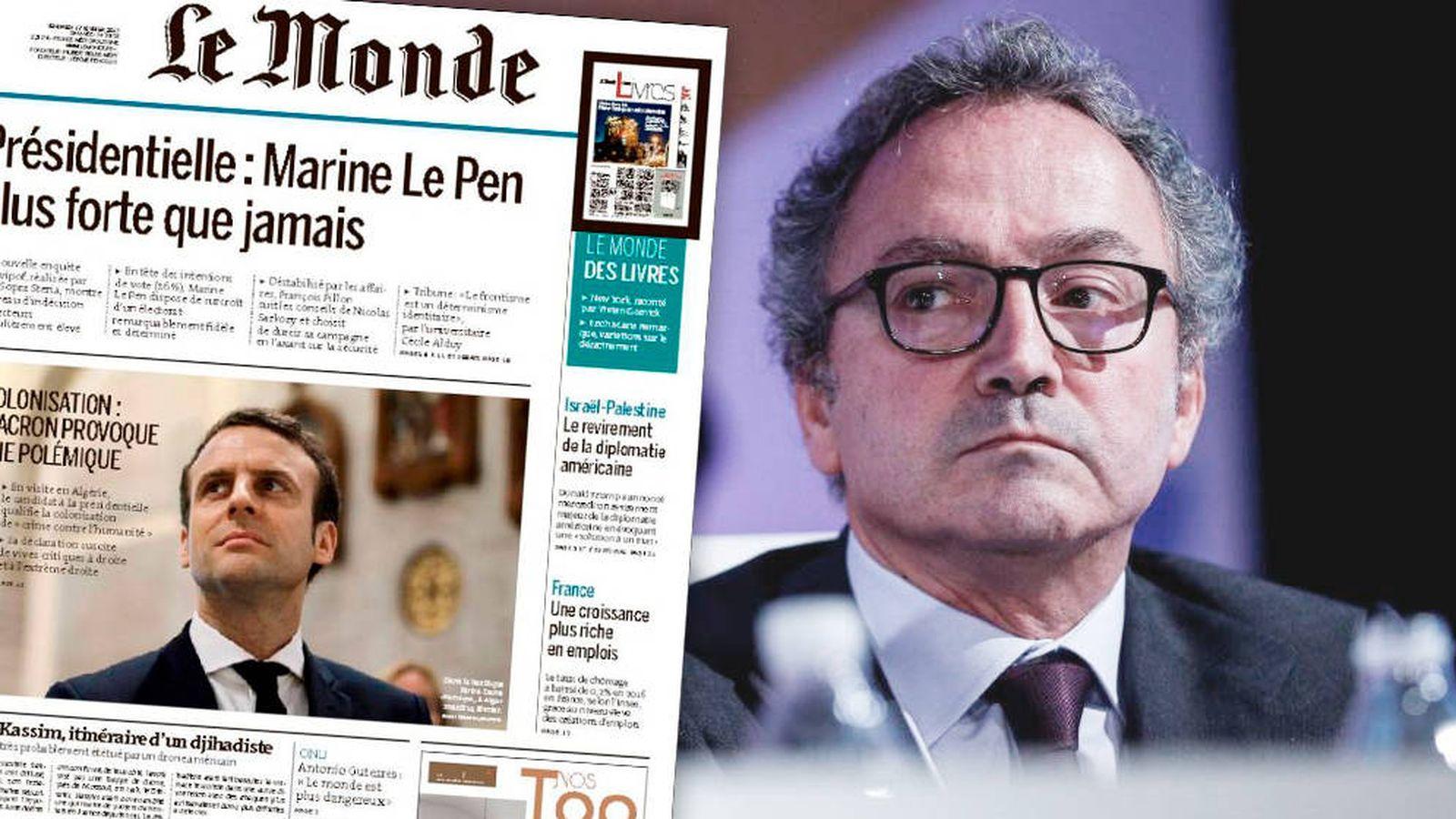 Foto: El presidente de Prisa, Manuel Polanco y un ejemplar de 'Le Monde'.