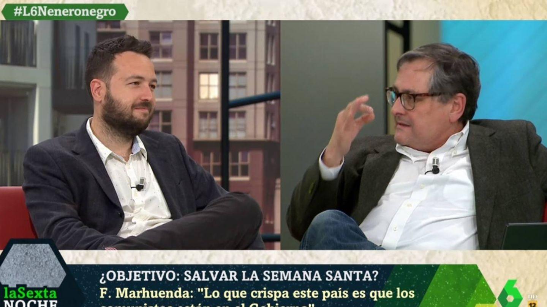 Sánchez y Marhuenda, en el plató de 'La Sexta noche'. (Atresmedia).