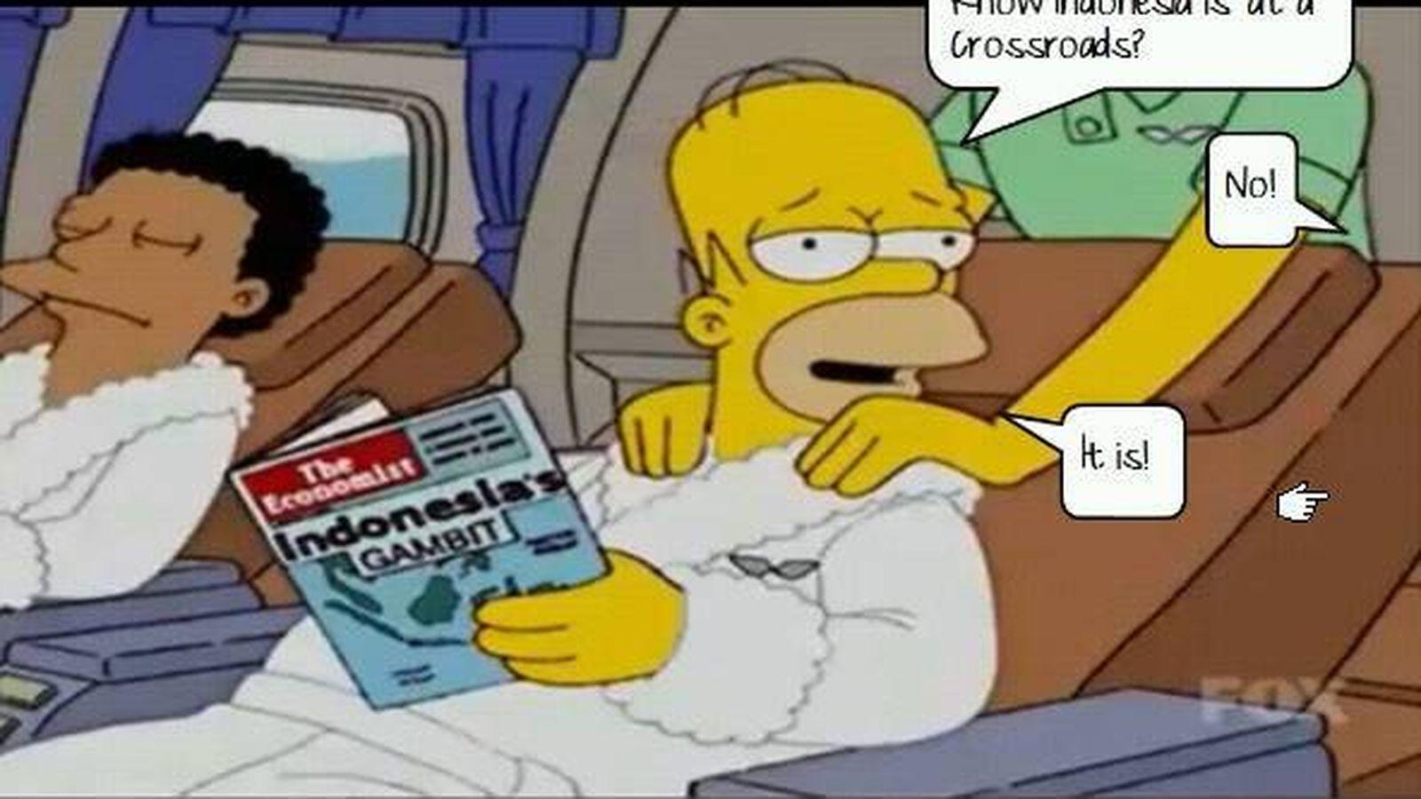 Foto: Homer Simpson con su ejemplar de 'The Economist'