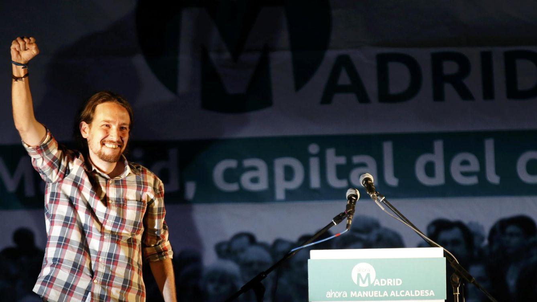 Foto: El líder de Podemos, Pablo Iglesias, celebra el resultado de Carmena en Madrid. (Reuters)