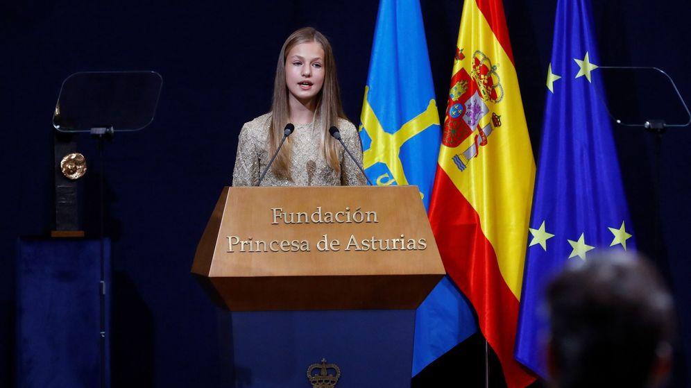 Foto: La princesa Leonor pronuncia un discurso durante la ceremonia de entrega de los Premios Princesa de Asturias. (EFE)