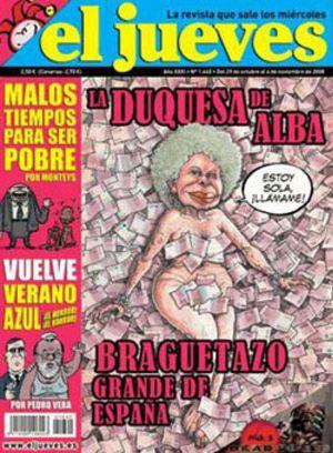 La Duquesa de Alba pide al juez el secuestro de una portada de la revista 'El Jueves'