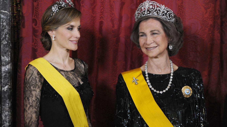 Foto: La reina Sofía y la reina Letizia en la visita de Estado del presidente de México (Gtres)