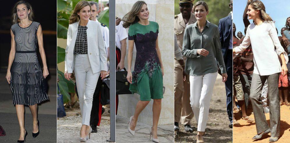 Foto:  Los cinco estilismos de la Reina en Senegal. (Gtres y EFE)