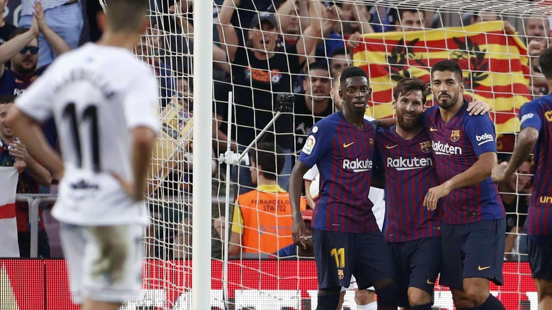 Foto: El tridente del FC Barcelona funcionó a pleno rendimiento ante el Huesca. (EFE)