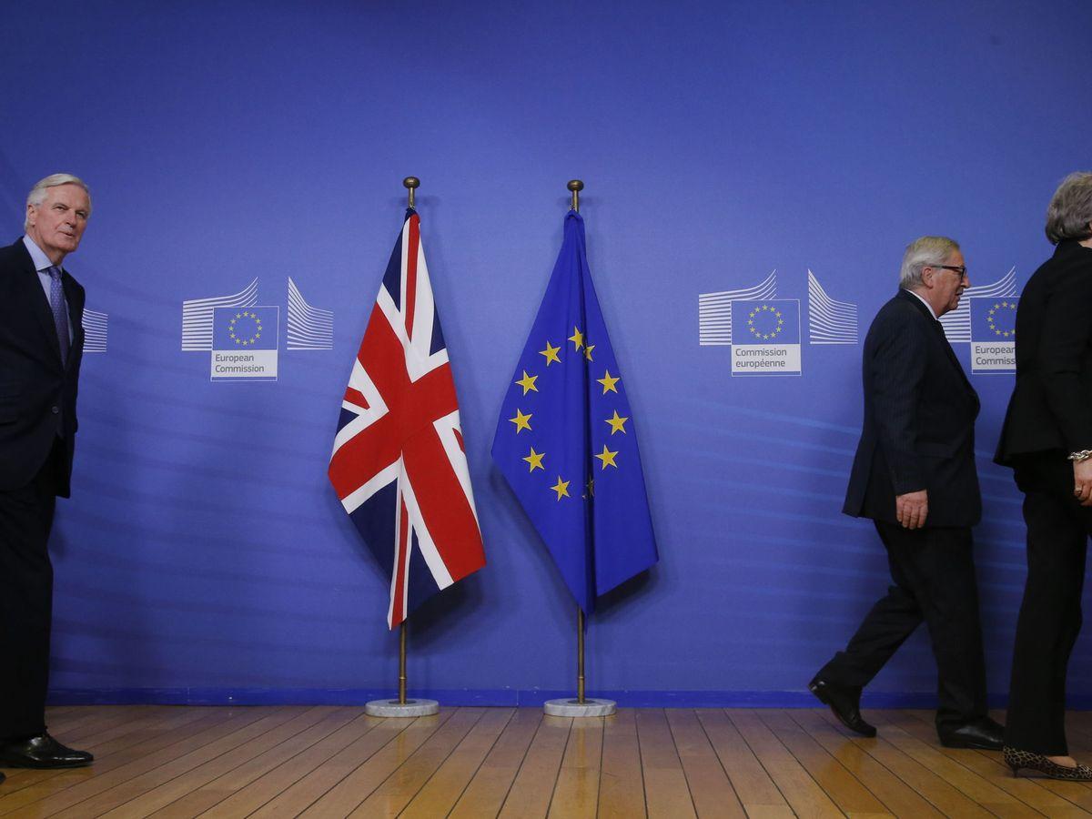 Foto: Michel Barnier, Jean-Claude Juncker y Theresa May, en una imagen de archivo del pasado 20 de febrero de 2019. (EFE)