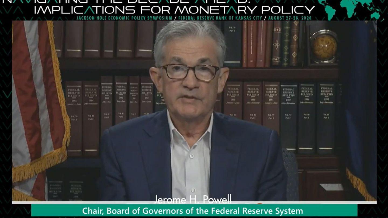 Jerome Powell en la reunión telemática por Jackson Hole realizada en 2020. (Reuters)
