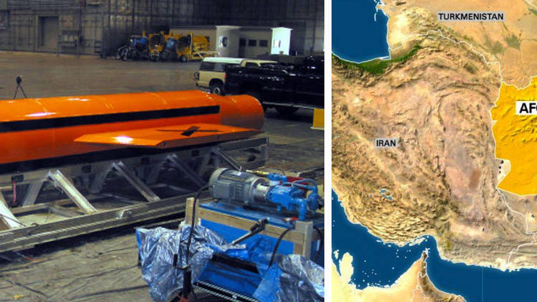 Una imagen de la bomba y un mapa de dónde ha sido lanzada.