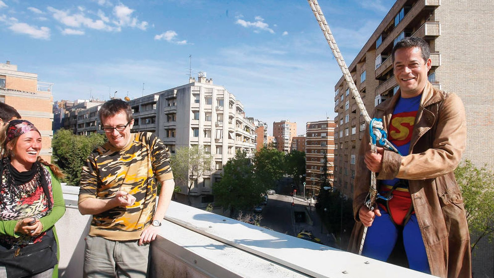 Foto: Un momento del rodaje de '¿Qué fue de Jorge Sanz?'. (Movistar+)