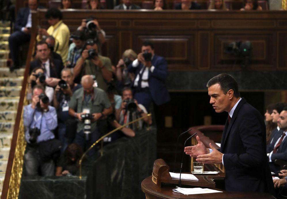 Foto: Pedro Sánchez, durante su intervención en la primera jornada del debate de investidura, este 22 de julio en el Congreso. (EFE)