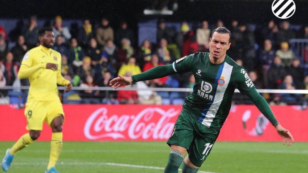 Foto: Raúl de Tomás celebrando su tanto frente al Villarreal. (@Espanyol)