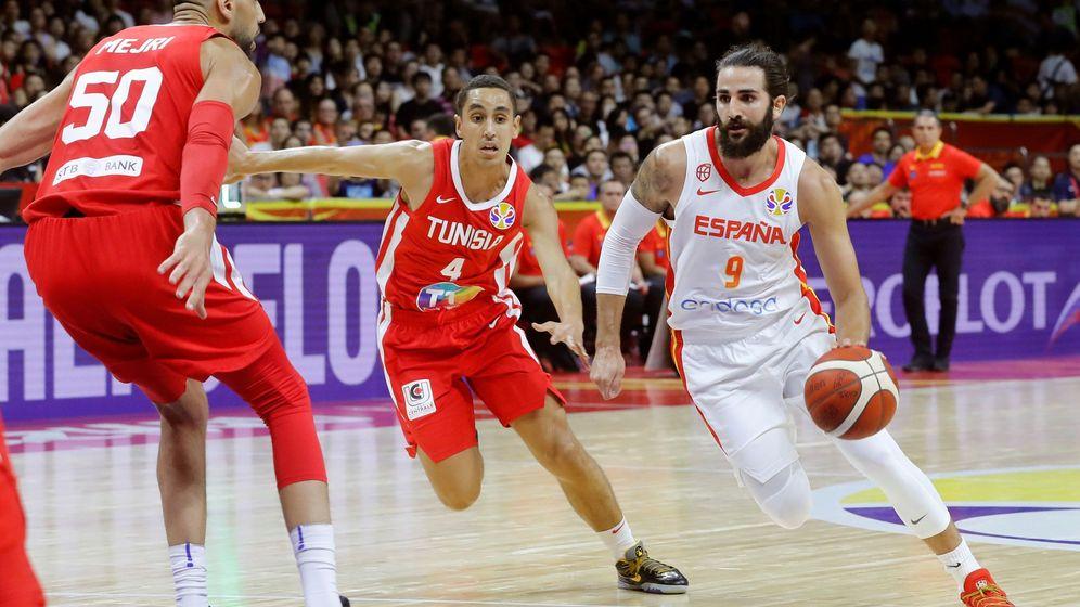 Foto: Ricky Rubio fue el máximo anotador de España ante Túnez. (EFE)