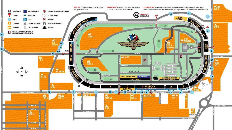 Mapa del circuito de las 500 Millas de Indianápolis