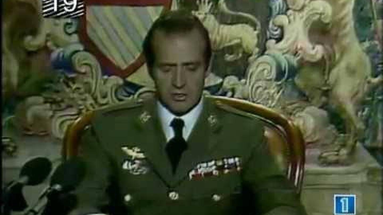 El rey durante su intervención en el 23 F.