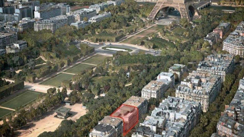 Vista aérea del área de la Torre Eiffel. Marcado en rojo el palacete adquirido por Mohamed VI
