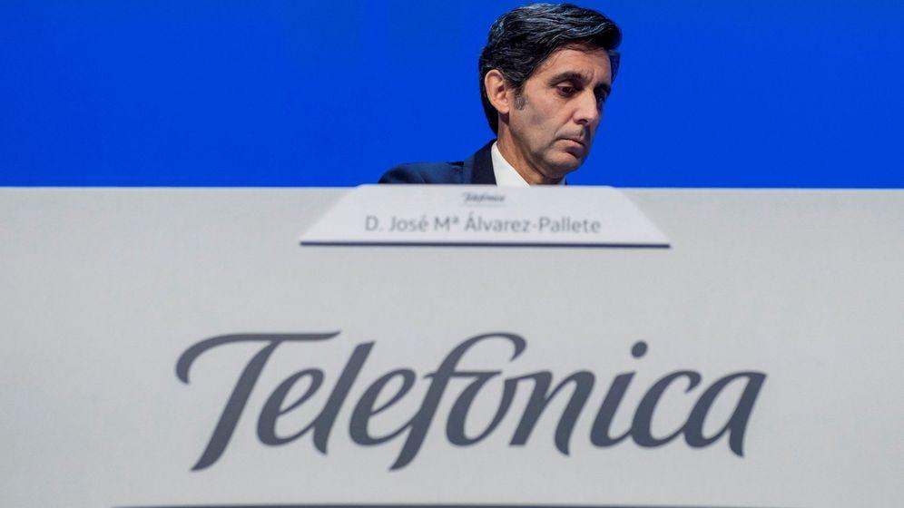 Foto: José María Álvarez-Pallete, en la junta de accionistas de Telefónica. (EFE)