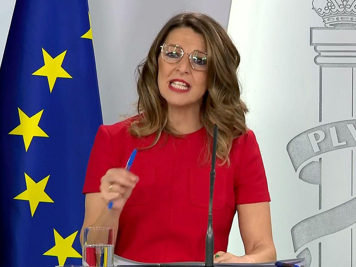 Foto: La ministra de Trabajo, Yolanda Díaz, en una imagen de abril de 2020. (EFE)