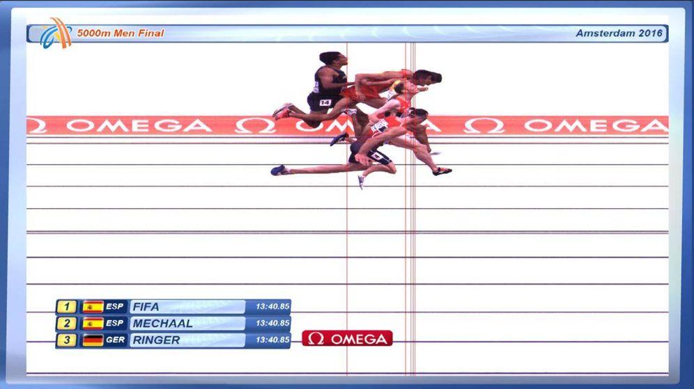 Foto: Photo finish de los 5000 metros