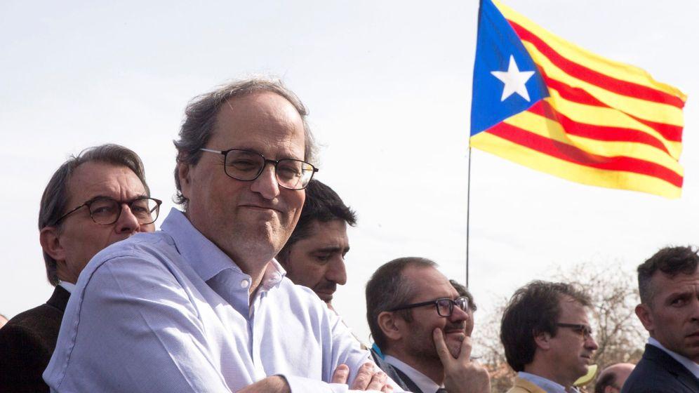 Foto: El presidente de la Generalitat, Quim Torra, durante el acto político celebrado en Perpiñán. (EFE)