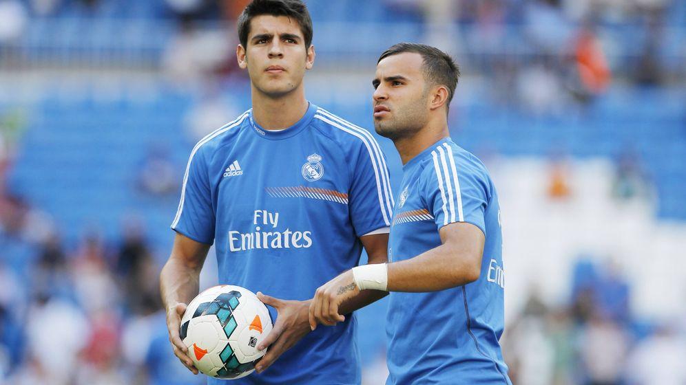 Foto: Morata y Jesé, en el Bernabéu durante su etapa como jugadores del Real Madrid. (foto elconfidencial)