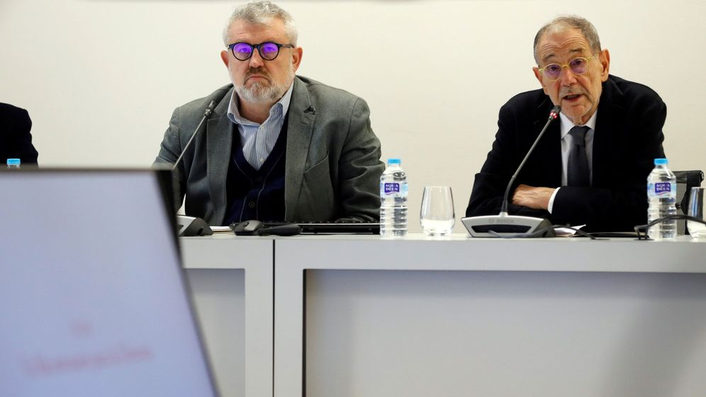 Foto: Miguel Falomir, director del Prado y Javier Solana, patrono de la pinacoteca
