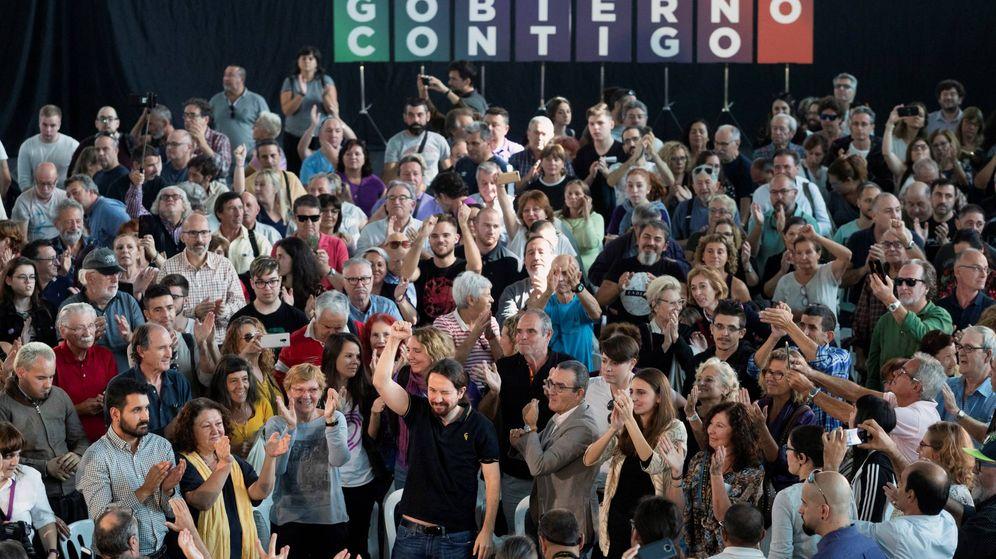 Foto: El secretario general de Unidas Podemos Pablo Iglesias en el mitin celebrado esta mañana en el Palacio de Congresos de Palma de Mallorca (EFE)
