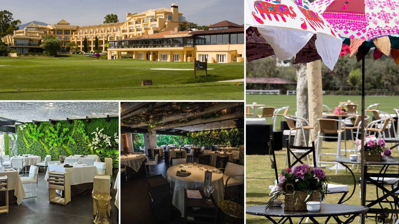 En sentido de las agujas del reloj: Restaurante del Real Club de Golf Guadalmina, Cancha II en Sotogrande, restaurante El Lago en las colinas de Marbella Hills y el templo culinario de Dani García.