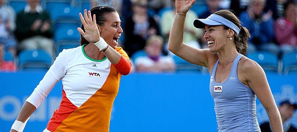 Foto: Flavia Penneta y Martina Hingis en segunda ronda del tornero del US Open (Getty Images)