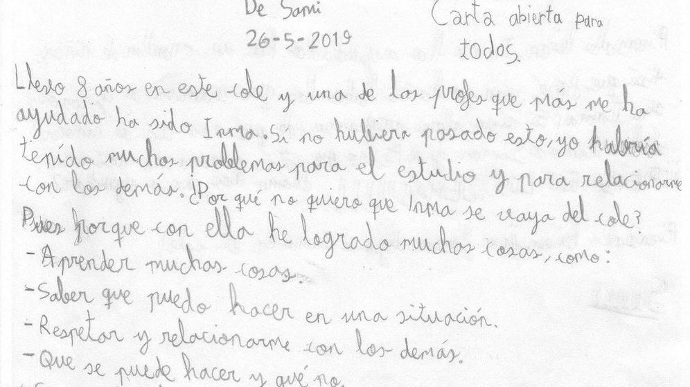 Foto: La carta de Sami a su director para que no prescinda de su profesora Inma