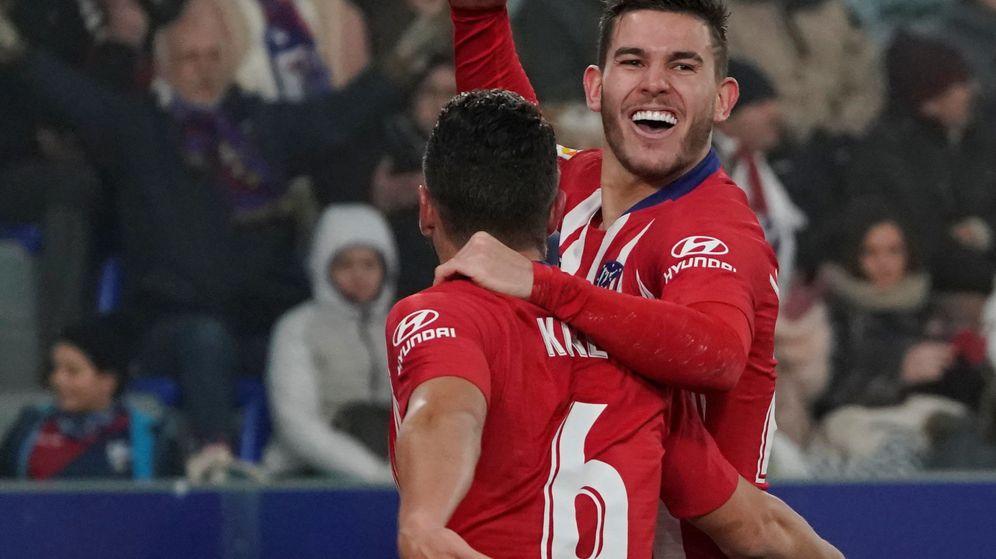 Foto: Lucas Hernández celebra un gol con el Atlético de Madrid. (Efe)
