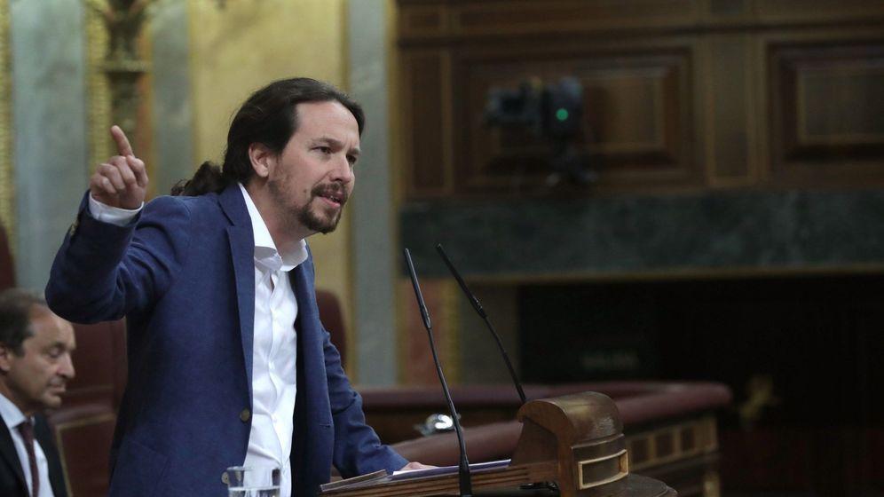Foto: El líder de Podemos, Pablo Iglesias, interviene en el debate de la moción de censura presentada por el PSOE. (EFE)