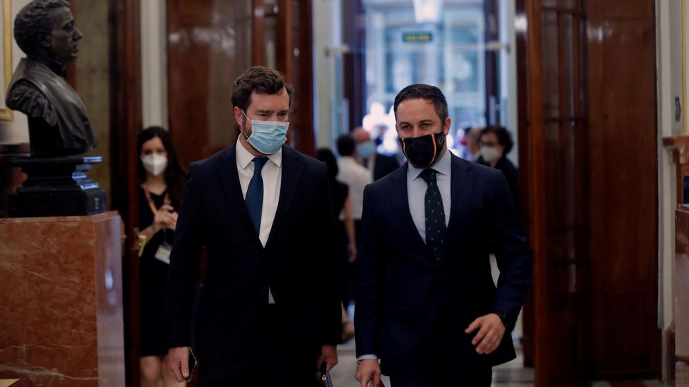 Foto: El líder de Vox, Santiago Abascal (d), y el diputado de la formación, Iván Espinosa de los Monteros. (EFE)