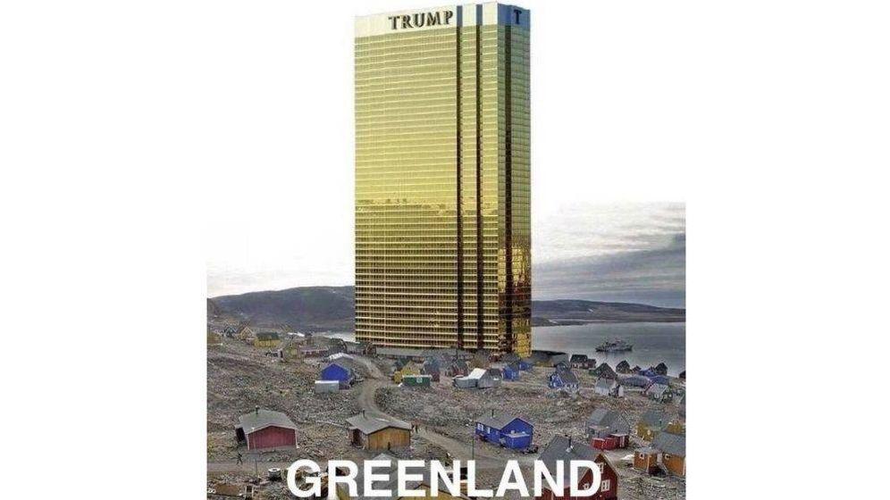 Foto: El presidente de EEUU publicó en Twitter un montaje de una de sus torres en Groenlandia