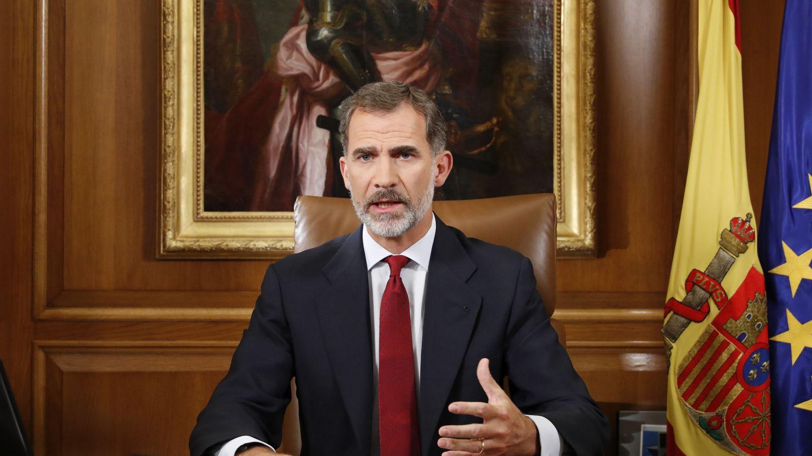 Foto: El rey Felipe dirige un mensaje a los españoles dos días después del referéndum del 1-O. (EFE)