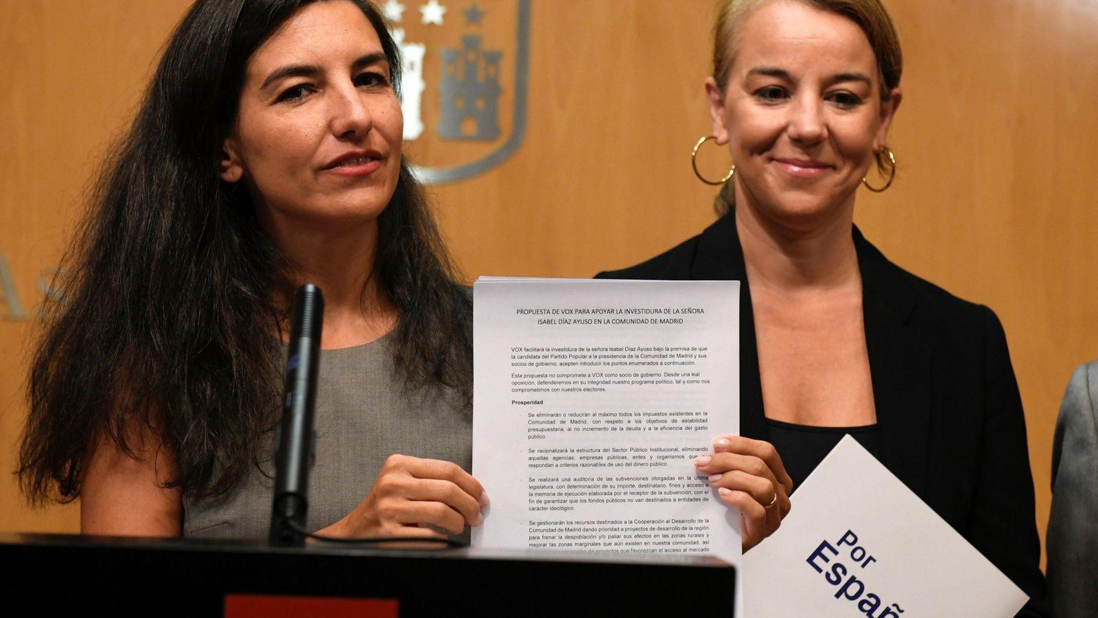 Foto: Rocío Monasterio presenta las exigencias de Vox al PP. (EFE)