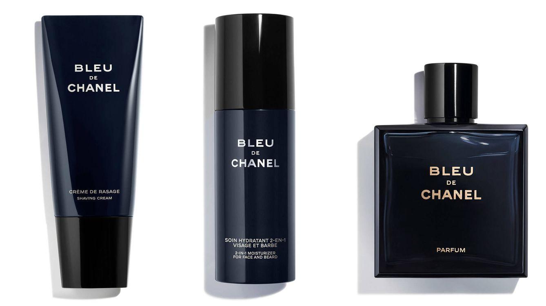 Foto: 'Bleu de Chanel Crème de Rasage', 'Bleu de Chanel Soin Hydratant 2-en-1 Visage et Barbe' y Perfume 'Bleu de Chanel'