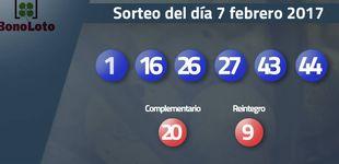 Post de Resultados del sorteo de la Bonoloto del 7 febrero 2017: números 1, 16, 26, 27, 43, 44