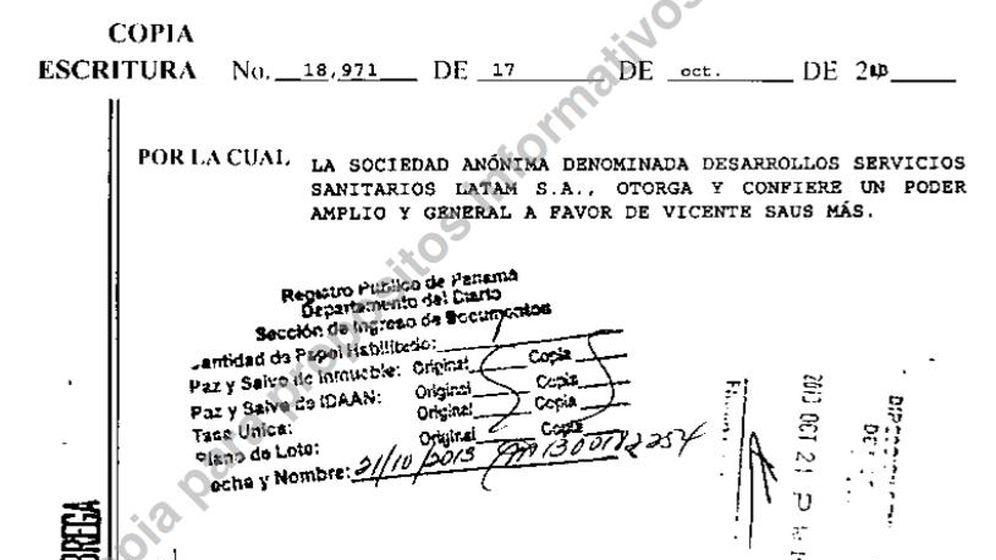 Foto: Escritura que da todo el poder a Vicente Saus en la sociedad de Panamá Desarrollos Servicios Sanitarios Latam