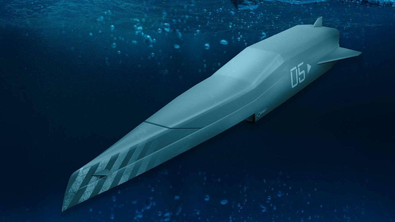 Este barco de combate autónomo funciona tanto en la superficie como debajo del agua. (Royal Navy)
