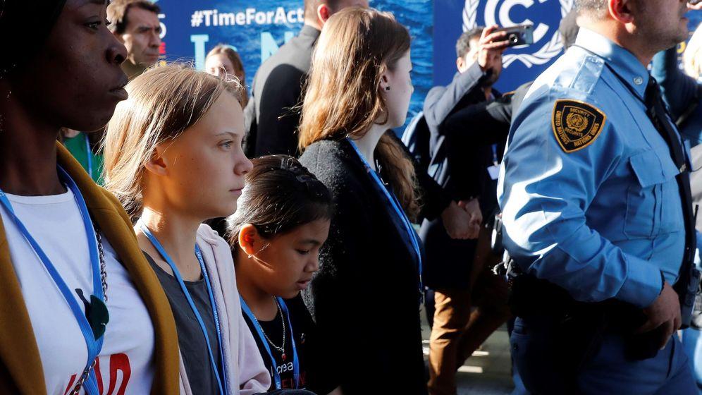 Foto: Llegada de Greta Thunberg a la Cumbre del Clima. (EFE)