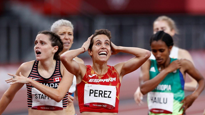La reacción de Marta Pérez tras meterse en la final del 1.500. (EFE)