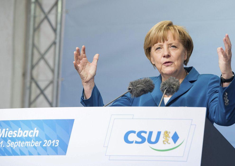 Foto: Angela Merkel pronuncia un discurso durante un acto de campaña electoral.