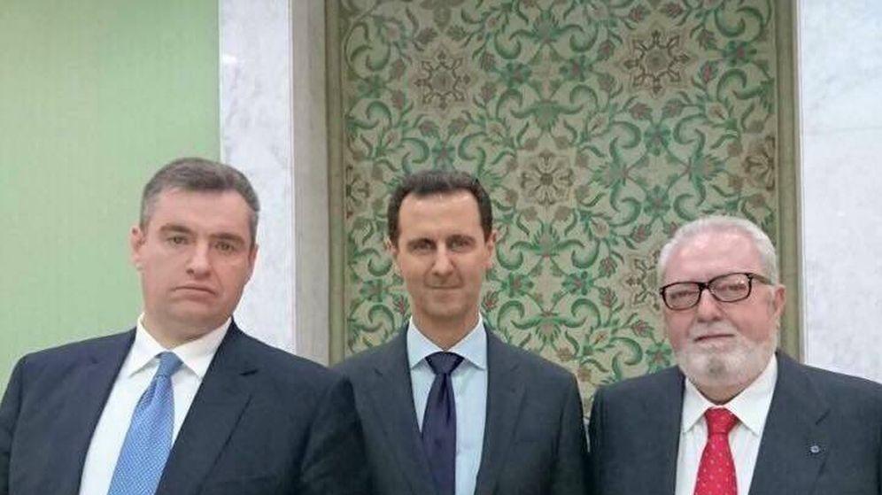 Foto: El diputado ruso Leonid Slutsky, Assad y Pedro Agramunt el pasado marzo.