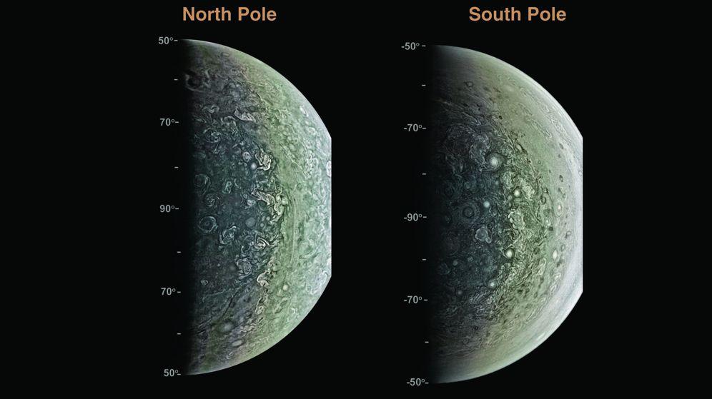 Foto: Proyección ortográfica de imágenes captadas por la cámara JunoCam en las regiones polares norte y sur de Júpiter. (Science)