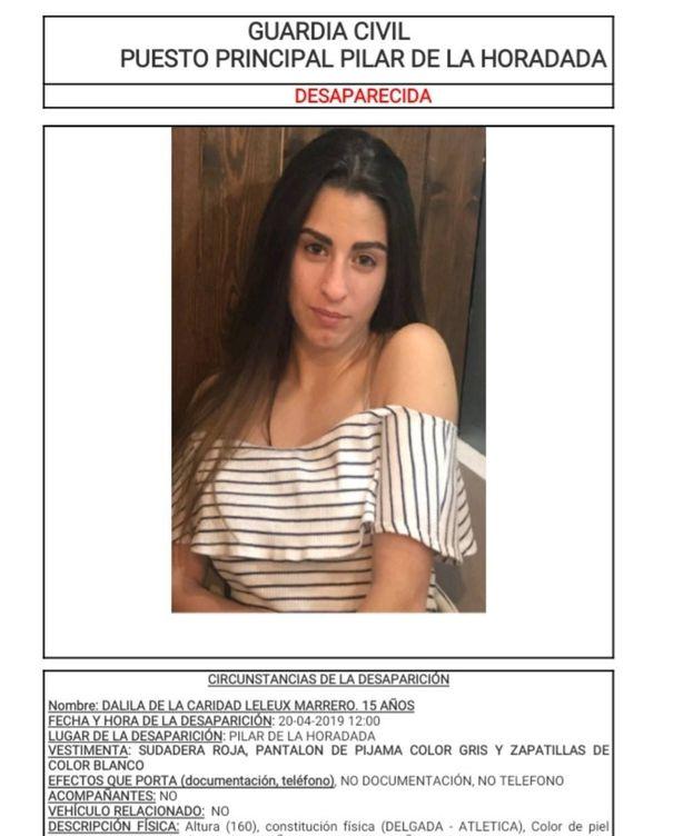 Foto: La Guardia Civil difundió la imagen de Dalila.