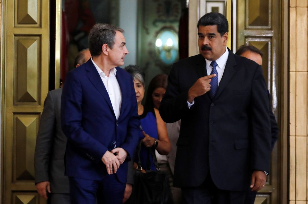 Foto: José Luis Rodríguez Zapatero, junto al presidente de Venezuela, Nicolás Maduro, el pasado 18 de mayo en Caracas. (Reuters)